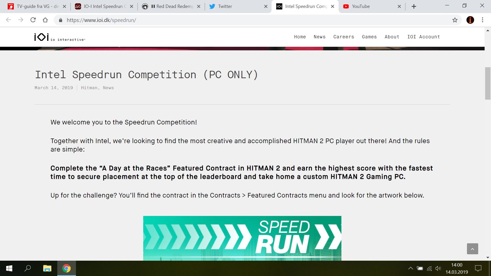 IO-I/Intel® Speedrun Competition (PC ONLY) - Hitman 2 (2018